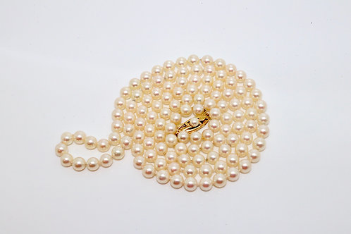 A Fine Vintage Long Mikimoto 18ct 750 Yellow Gold Clasp Cultured Pearl Necklace