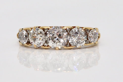 A Stunning Antique Victorian C1890 18ct Yellow Gold 1.80ct Diamond 5 Stone Ring