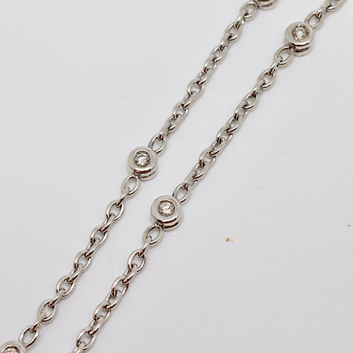 A Lovely Modern 18ct 750 White Gold 0.55ct Diamond Chain Necklace 42cm long