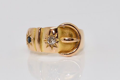 A Quality Antique Edwardian C1905 18ct Yellow Gold Sapphire Diamond Buckle Ring