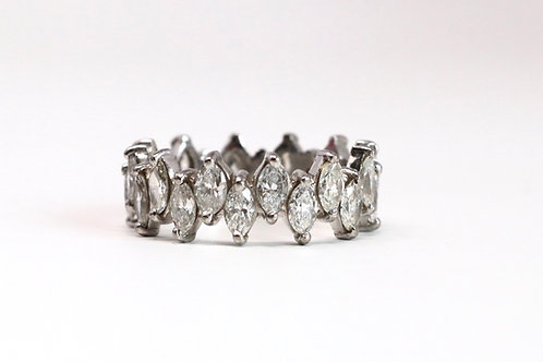 A Marvelous Vintage 18ct White Gold 3.00ct Diamond Marquise Eternity Ring #23767