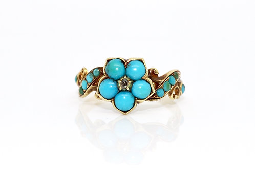 A Stunning Antique Victorian 15ct Gold Turquoise & Diamond Flower Cluster Ring