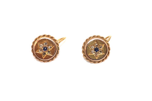 A Stunning Pair of Antique Victorian 15ct Gold Diamond & Sapphire Earrings