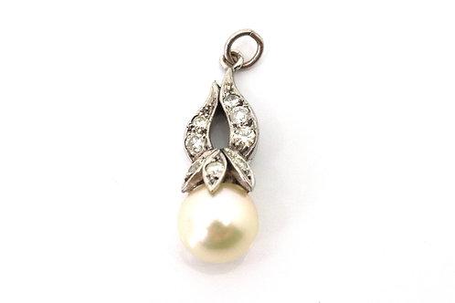 A Superb Art Deco 1950's Platinum 950 Cultured Pearl & Diamond Pendant #23101