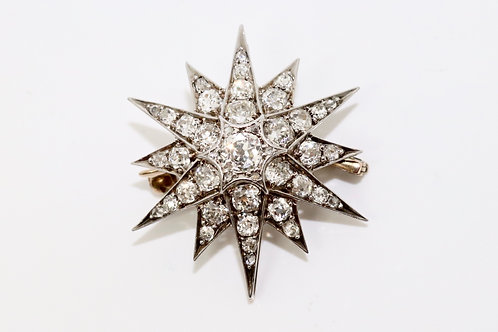 A Stunning Antique Victorian Gold & Silver 2.70ct Old Cut Diamond Star Brooch