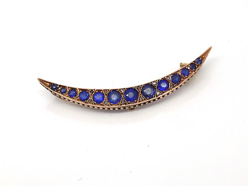 A Nice Antique Edwardian C1905 9ct Rose Gold Sapphire Diamond Crescent Brooch