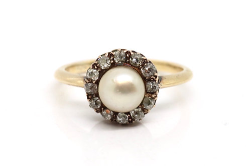 A Fine Antique Victorian 18ct Gold Natural Pearl & Diamond Cluster Ring #16232