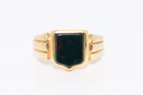 A Fine Antique Victorian C1899 18ct 750 Gold Bloodstone Agate Shield Signet Ring