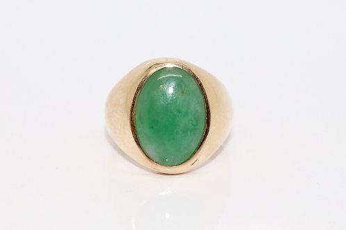 A Nice Large Vintage 14ct 585 Rose Gold Nephrite Jade Single Stone Ring