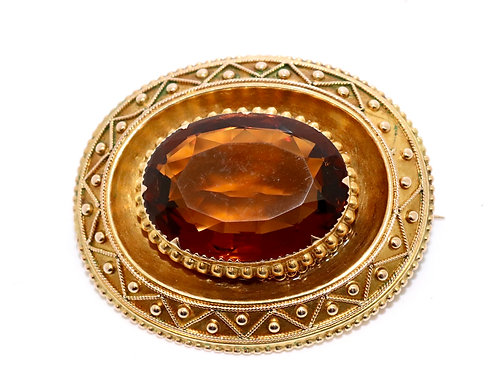 A Lovely Large Antique Victorian 15ct Gold Etruscan Style Citrine Brooch