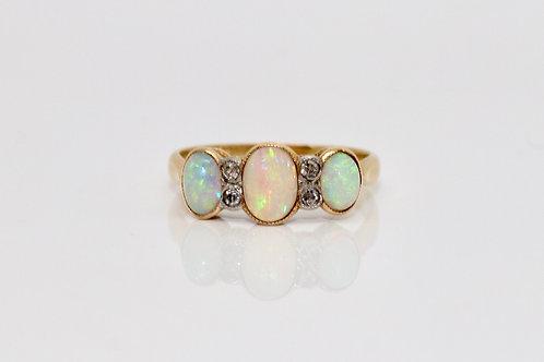A Stunning Antique Victorian 18ct Yellow Gold Opal & Diamond Three Stone Ring