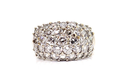 A Lovely Vintage 18ct 750 White Gold 3.12ct Diamond Bombay Cluster Ring #15982