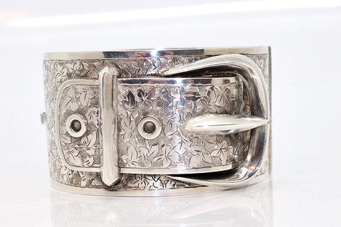 A Huge Antique Victorian C1882 Solid Silver Engraved Buckle Bangle Bracelet