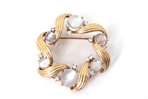 A Vintage C1950's Art Deco Style 14ct Yellow Gold Moonstone & Diamond Brooch