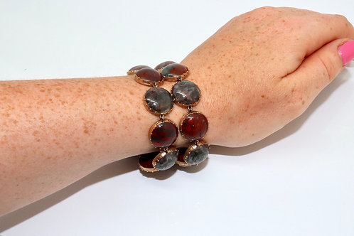 A Superb Antique Georgian C1820 9ct Rose Gold Double Row Scottish Agate Bracelet