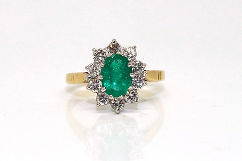 A Lovely Vintage 18ct 750 Yellow Gold Emerald & Diamond Cluster Ring #16186