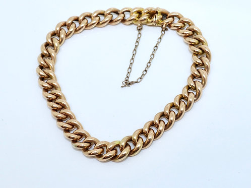 A Lovely Antique Victorian 15ct Rose Gold Curb Link Bracelet