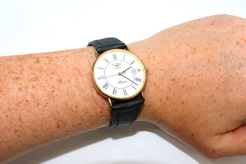 A Very Nice Vintage Men's 9ct 375 Yellow Gold Longines Presence Wristwatch