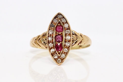 A Nice Late Victorian Antique 18ct Ruby & Rose Cut Diamond Navette Cluster Ring