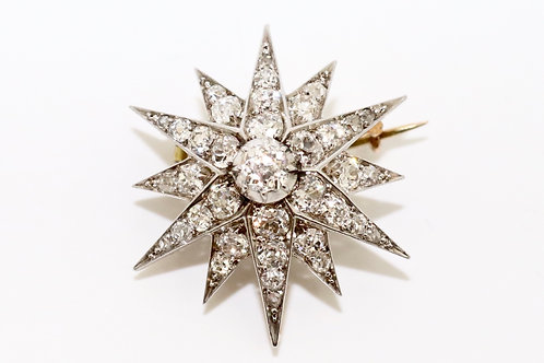 A Superb Antique Victorian Gold & Silver 1.20ct Old Cut Diamond Star Brooch