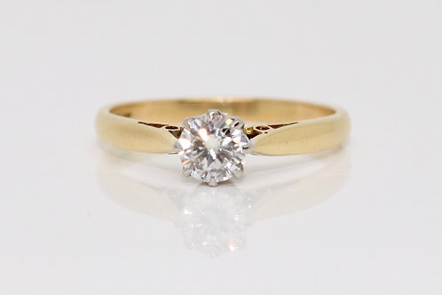 A Very Nice Vintage 18ct Gold & Platinum 0.40ct Diamond Solitaire Ring