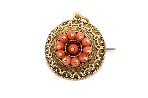 A Fine Antique Victorian Etruscan Style 15ct Gold Coral Locket Pendant Brooch