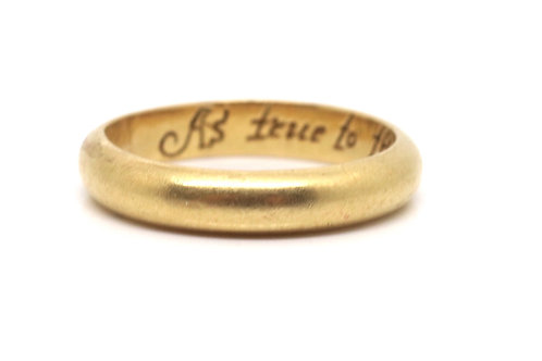 A Stunning Rare Antique Georgian 22ct Yellow Gold Inscribed Posy Ring #15354