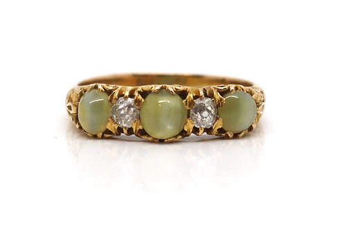 A Fine Antique Victorian 18ct Yellow Gold Cats Eye & Diamond Cluster Ring #17334
