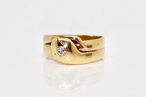 A Nice Antique Victorian C1890 18ct 750 Yellow Gold Diamond Snake Ring