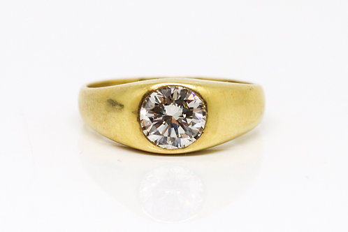 A Superb Vintage Victorian Style 18ct Gold 1.11ct Diamond Solitaire Gypsy Ring