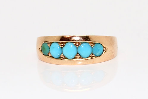 A Lovely Antique Victorian C1893 15ct 625 Rose Gold Turquoise Band Ring