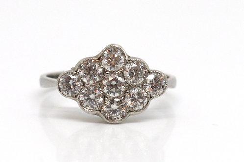 A Fantastic Edwardian Style Platinum 950 0.90ct Diamond Cluster Ring #17631