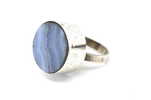 A Superb Vintage Mondernist C1972 Sterling Silver Montrose Agate Statement Ring