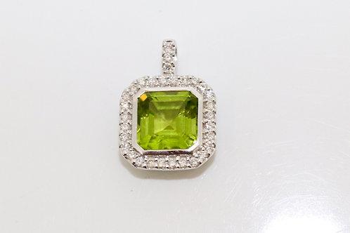 A Stunning Modern 18ct White Gold Asscher Cut Peridot & Diamond Pendant