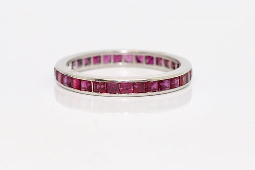 A Lovely Vintage Platinum 950 Ruby Eternity Ring
