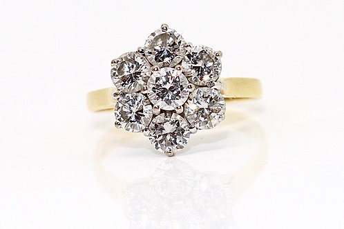 A Beautiful Vintage 18ct 750 Yellow Gold 1.75ct Diamond Cluster Ring #15981