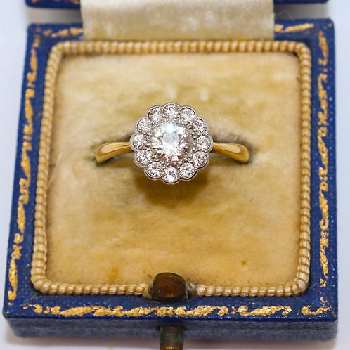 A Superb Antique Edwardian 18ct Yellow Gold 0.75TCW Diamond Cluster Ring #16139