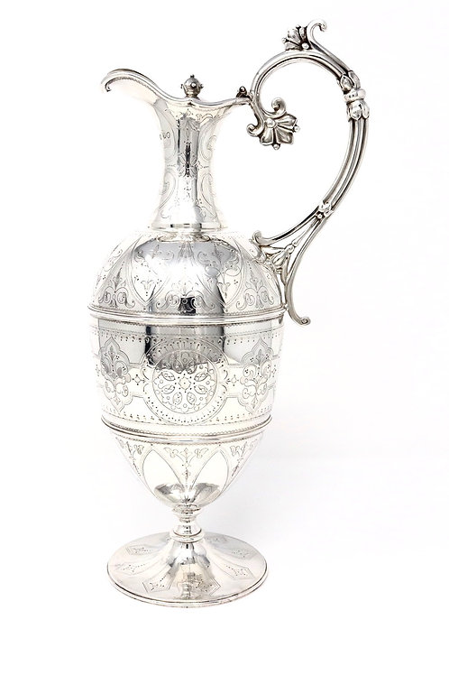 A Stunning Large Antique Victorian C1876 Solid Silver Claret Jug Wine Ewer 727g
