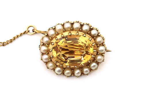 A Pretty Antique Victorian 15ct Yellow Gold Topaz & Pearl Brooch & Box #16261