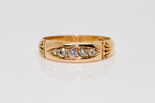 A Nice Antique Victorian C1897 18ct Yellow Gold 0.10ct Diamond Five Stone Ring