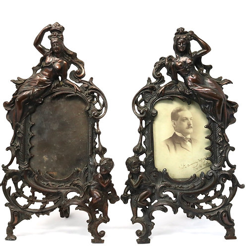 A Stunning Pair Of Antique Victorian Rococo Maiden Putto Spelter Picture Frames