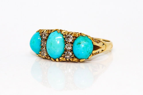 A Superb Antique Late Victorian 18ct Gold Cabochon Cut Turquoise & Diamond Ring