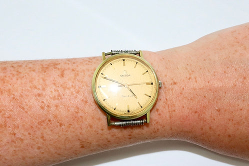 A Nice Unusual Vintage 1960's Gent's Gold Plated Omega Manual Wind Wristwatch
