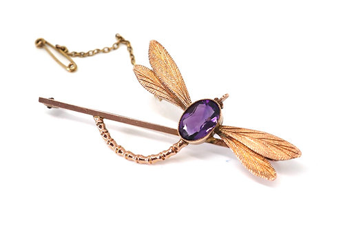 A Nice Large Antique Edwardian 9ct 375 Rose Gold Amethyst Dragonfly Bug Brooch
