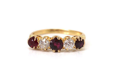 A Super Antique Victorian 18ct Yellow Gold 0.45ct Diamond & Ruby Five Stone Ring