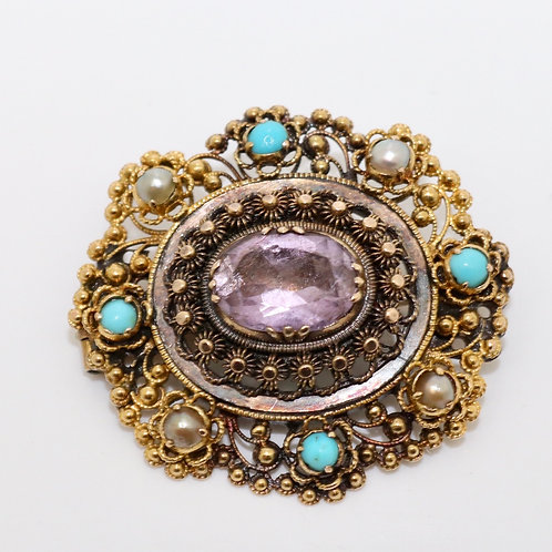 A Fine Antique Georgian C1820 15ct Gold Amethyst Turquoise Pearl Cantile Brooch