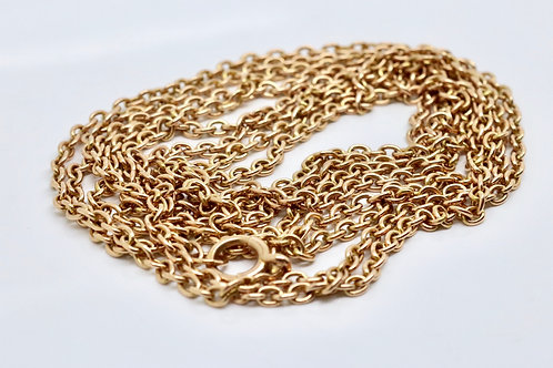 A Very Long Antique Victorian 15ct 625 Yellow Gold Guard Chain 66 Inches