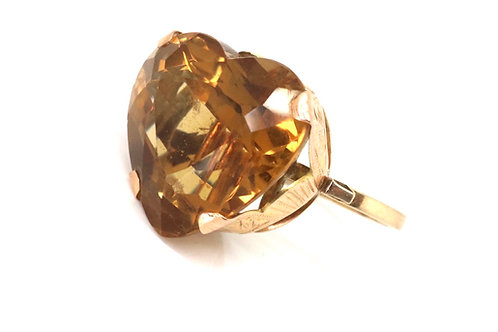 A Huge Vintage C1950's 14ct Yellow Gold 40ct Heart Citrine Statement Ring #23040