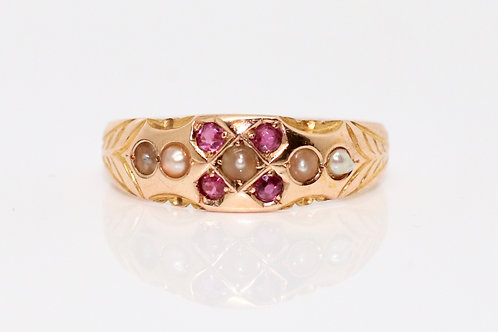 A Terrific 15ct Rose Gold C1893 Antique Victorian Seed Pearl & Ruby Ring