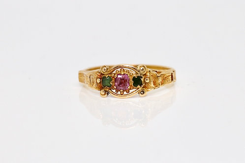 A Very Nice Early Victorian 18ct Gold Pink Topaz & Emerald Three Stone Ring